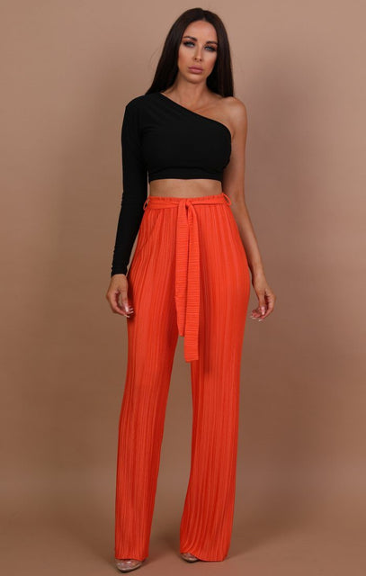 Orange Pleated Belted Trousers - Gabbie