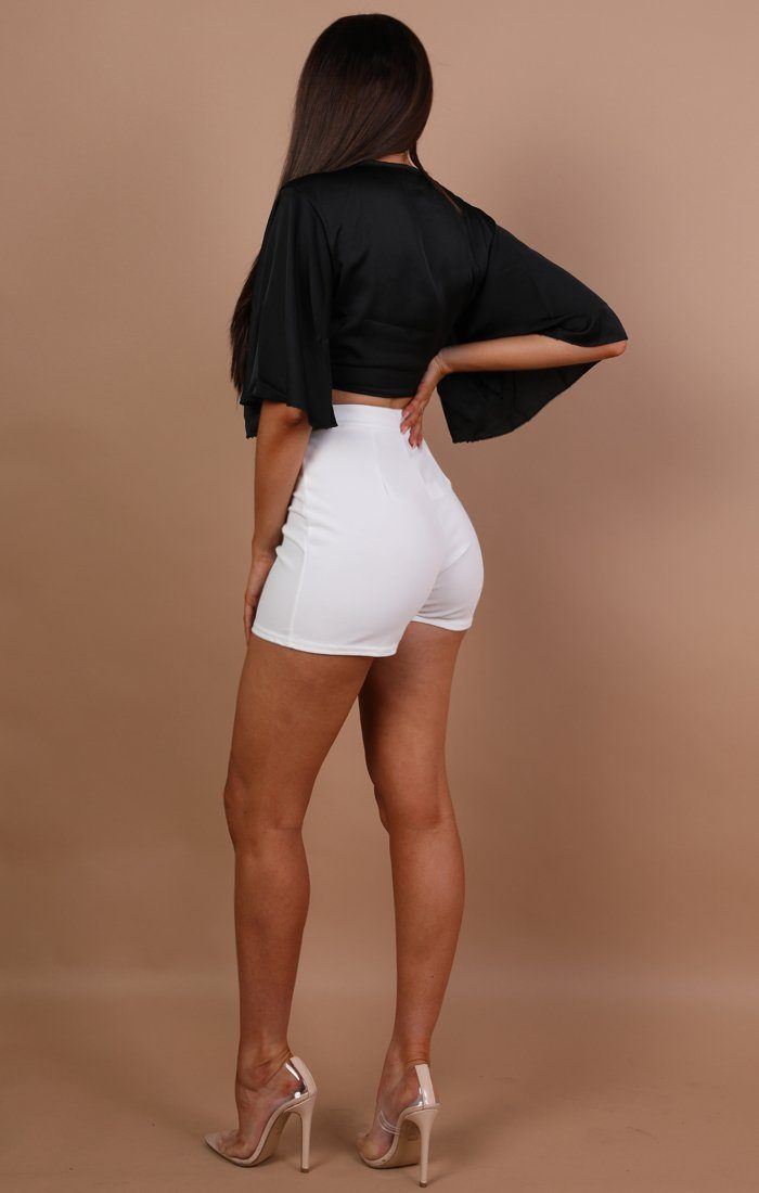 White Belted Detail Shorts - Lisa