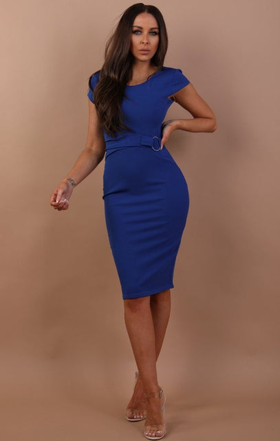 Blue Sleeveless Ring Front Midi Dress - Emery