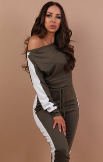 Khaki With White Stripe Off Shoulder Loungewear Set - Shani