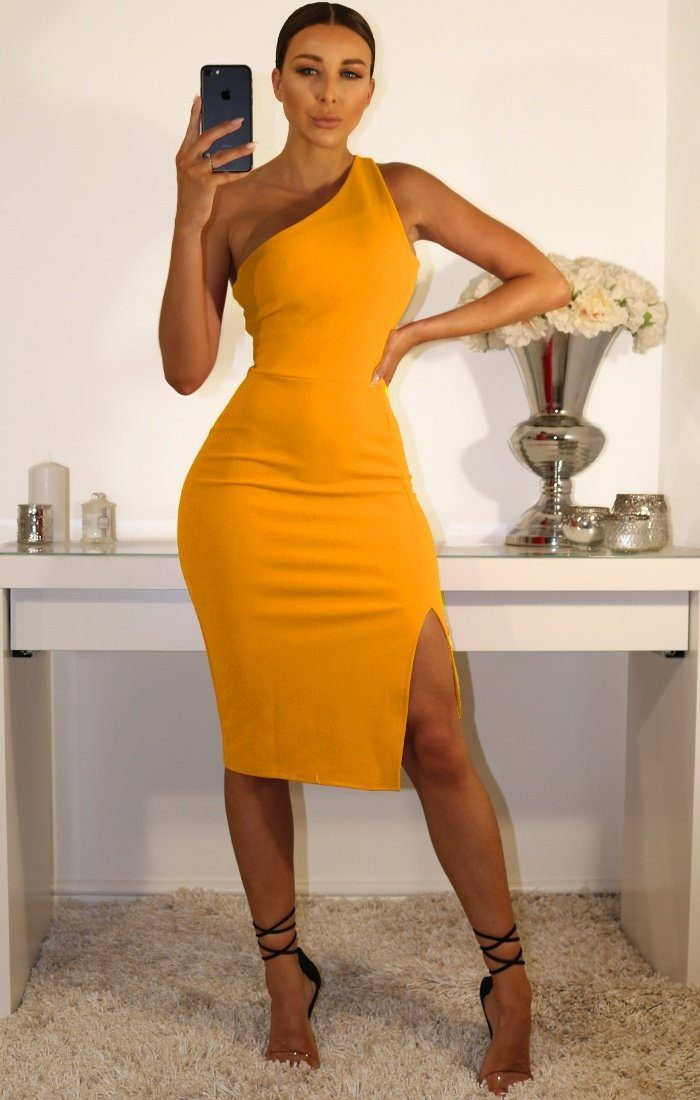 Mustard One Shoulder Midi Dress