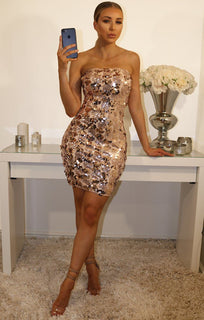 NUDE SEQUIN FRONT STRAPLESS BODYCON DRESS