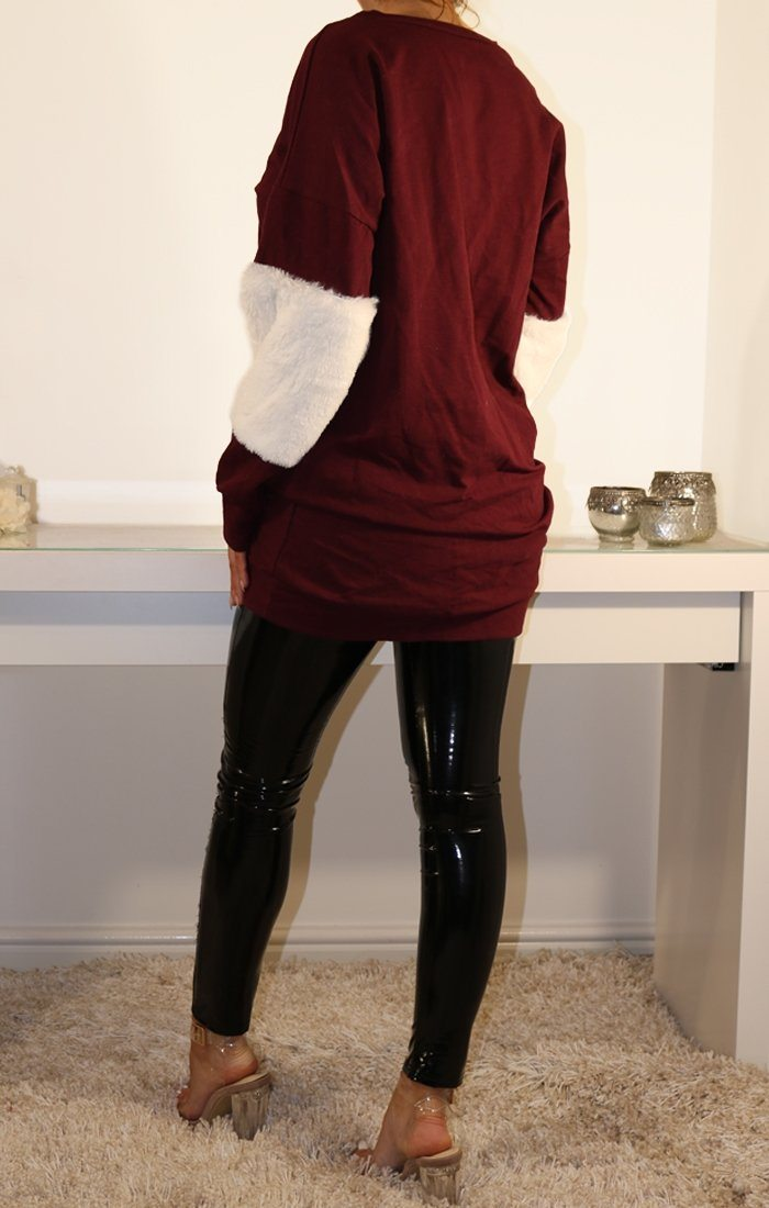Wine Oversized Faux Fur Panel Jumper Dress