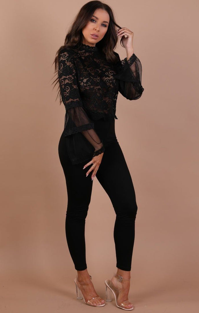 Black-Floral-Lace-Bell-Sleeve-Top