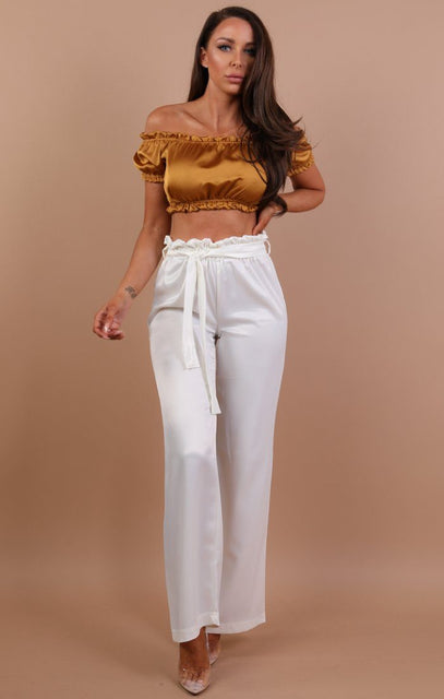 Mustard Satin Bardot Ruched Crop Top - Stella