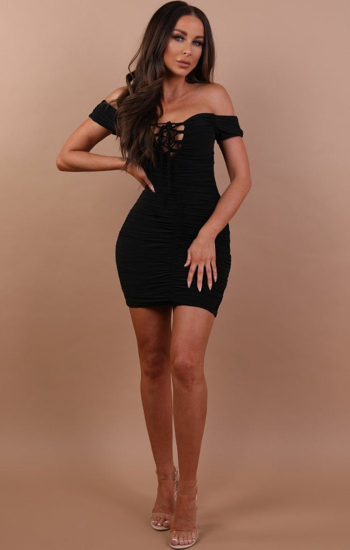 Black-Slinky-Ruched-Bardot-Dress