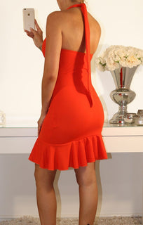Orange Halter Neck Frill Dress