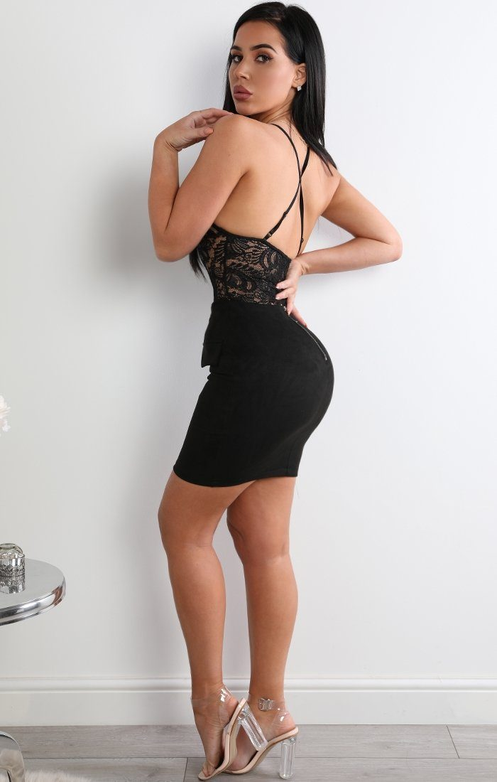 Black Suede Lace-up Bodycon High Waist Skirt