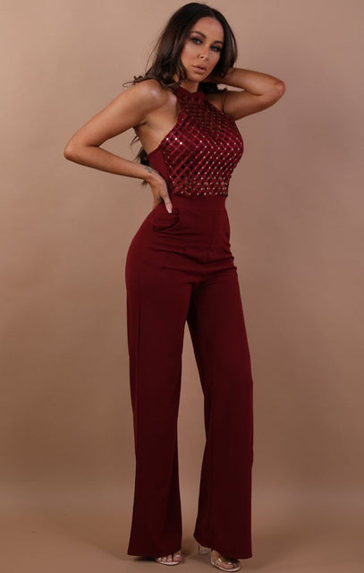 Wine Halterneck Woven Jumpsuit - Kitty