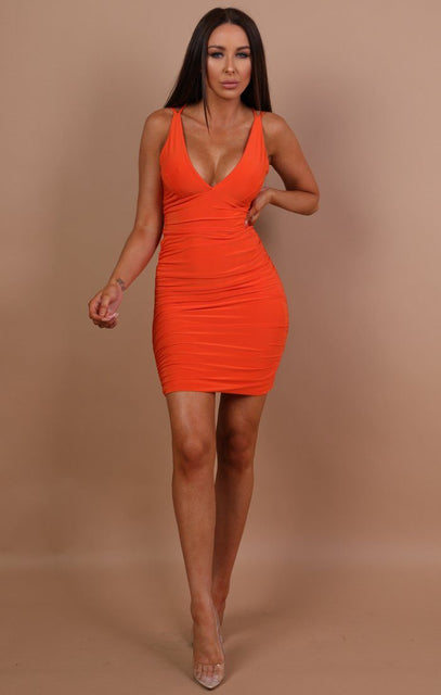 Orange Ruched Bodycon Mini Dress - Amara