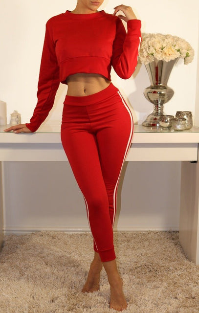 Red Side Multi Stripe Loungewear Set