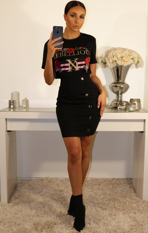 BLACK BODYCON MINI SKIRT WITH SIDE BUTTONS1