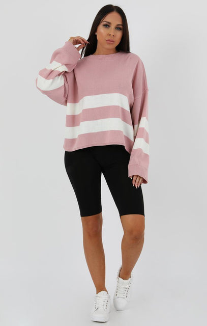 Rose Stripe Oversize Crop Jumper-Faizi