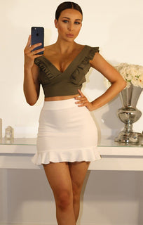 KHAKI FRILL SLEEVE CROP TOP