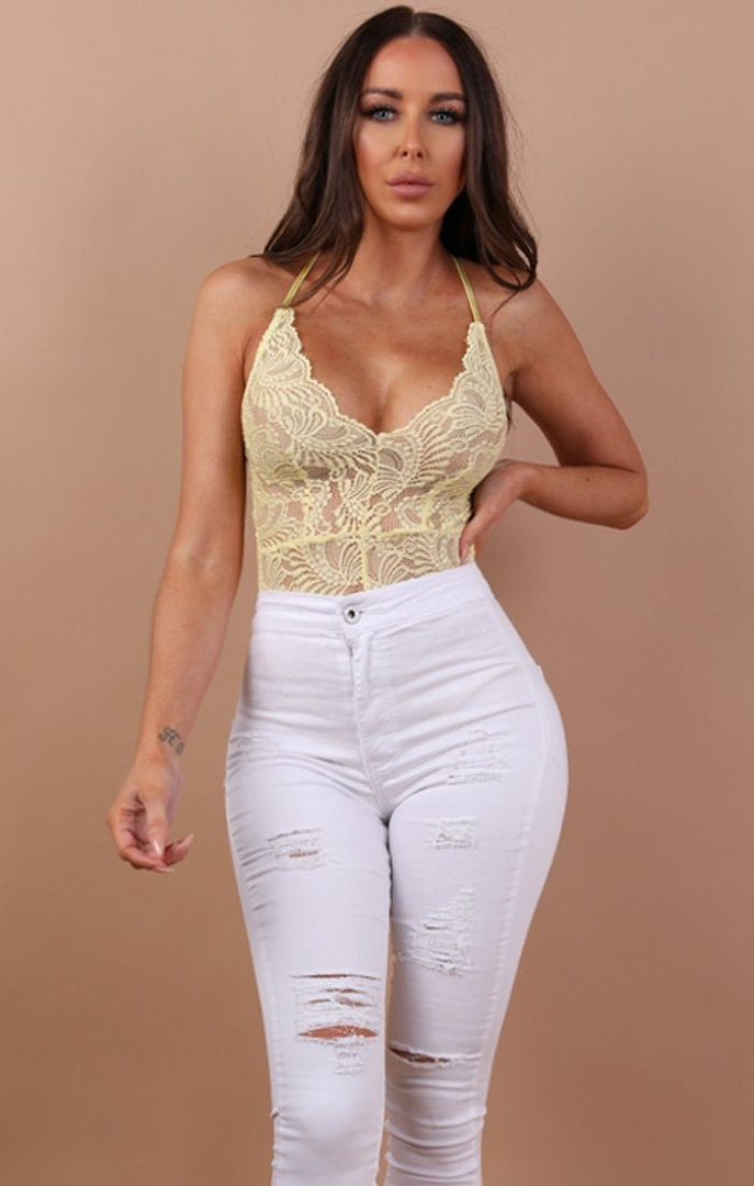 Yellow Floral Sheer Lace Bodysuit - Alma bodysuits Femme Luxe 6