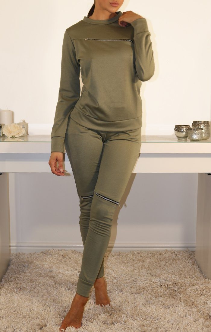 Khaki Zip Detail Loungewear Set