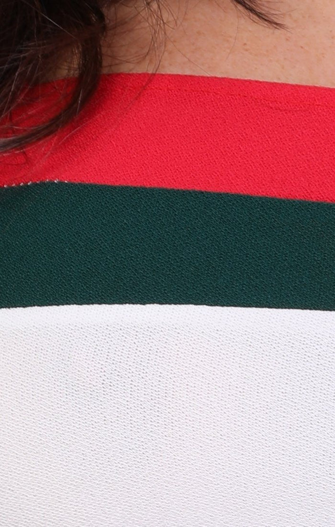White Red And Green Stripe Bandeau Crop Top – Kimberly