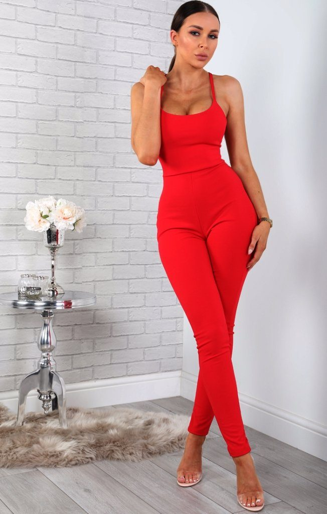 Red Tie Back Jumpsuit