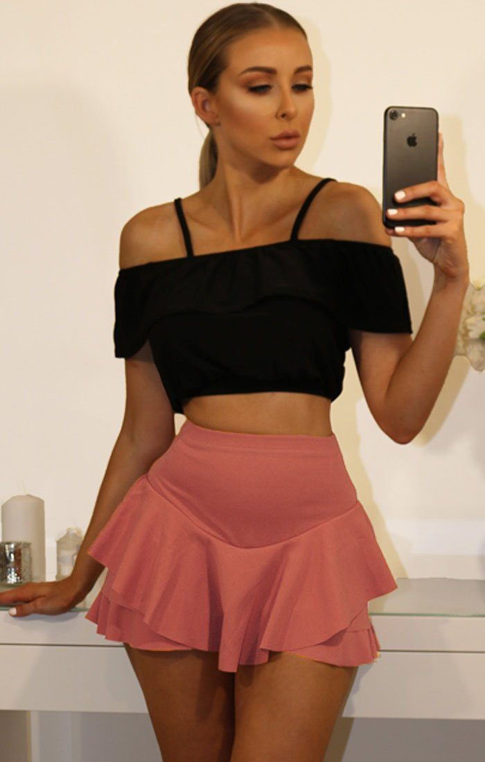Rose Layered Frill Mini High Waist Skirt Shorts