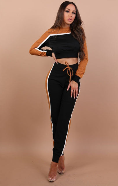 Black And Rust Cropped Tracksuit - Teagan