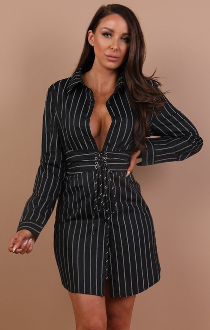 Black Stripe Corset Shirt Dress - Tiana