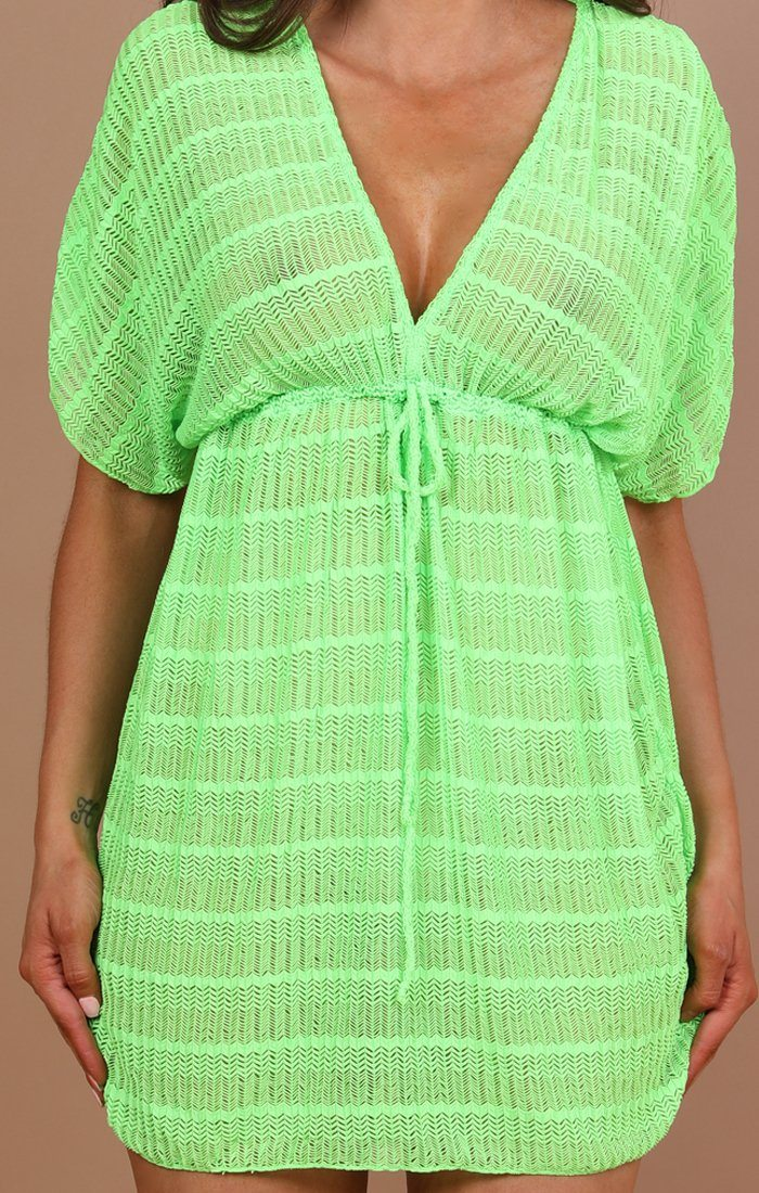 Green Crochet Drawstring Kaftan - Charis