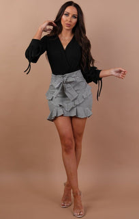 Black And White Gingham Tie Front High Waist Skirt