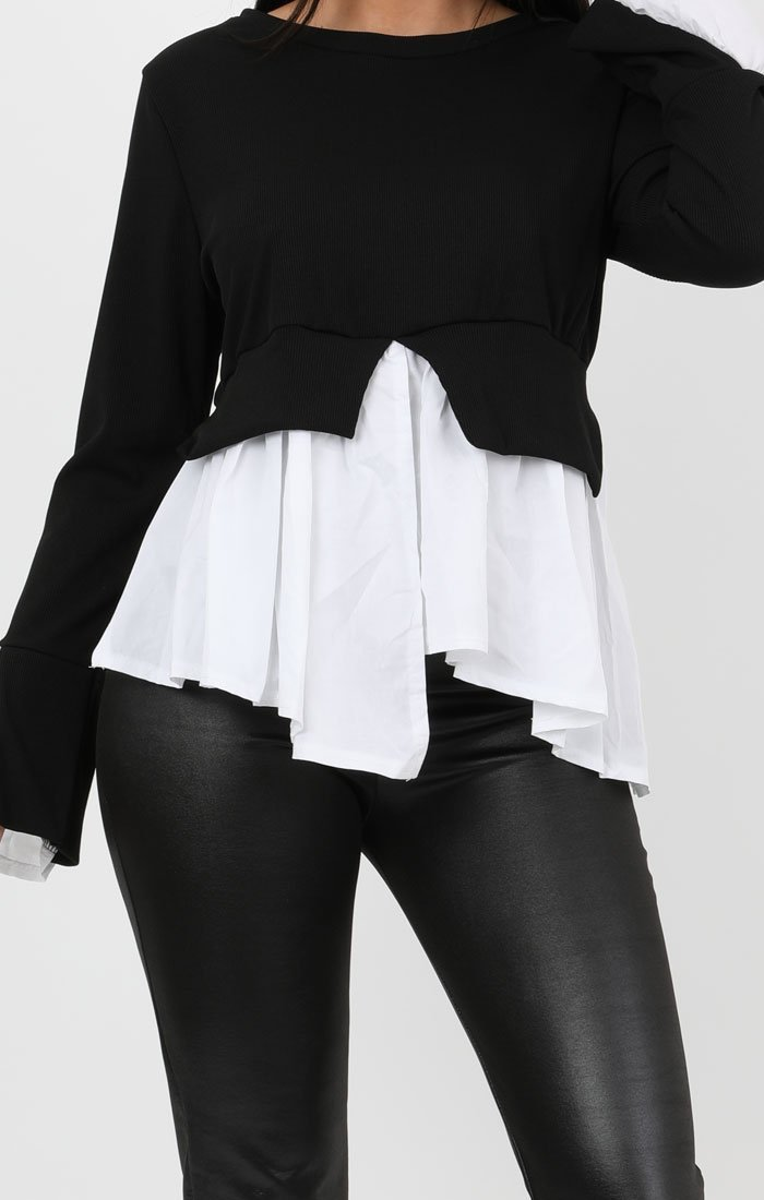 Black Layered Look Shirt Jumper - Ari
