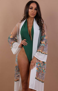 White Green Embroidered Mesh Kimono - Lorelei
