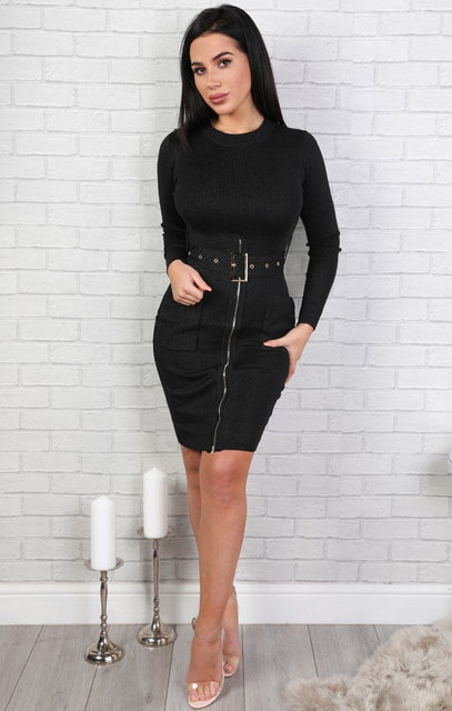 Black Belted Bodycon Dress - Vicky