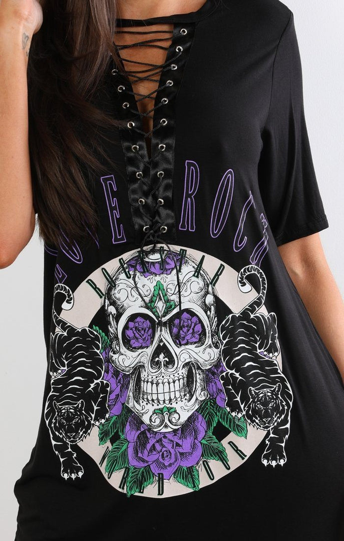 Black Lace-up Purple Skull T-shirt Dress