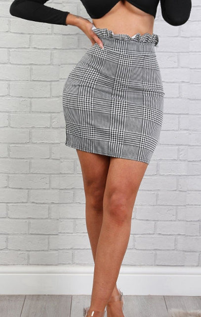 Hounds Tooth Print Ruffle Waisted Mini High Waist Skirt – Heidi