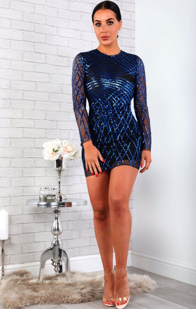 Blue Sequin Detail Mesh Bodycon Dress