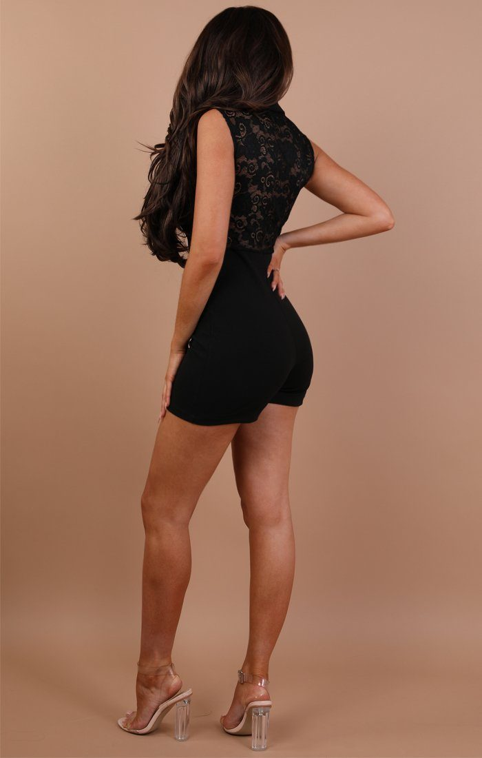 Black Blazer Lace Playsuit - Mille