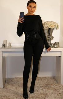Black Corset Front Knitted Jumper