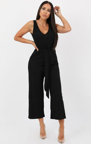 Black Culotte Jumpsuits