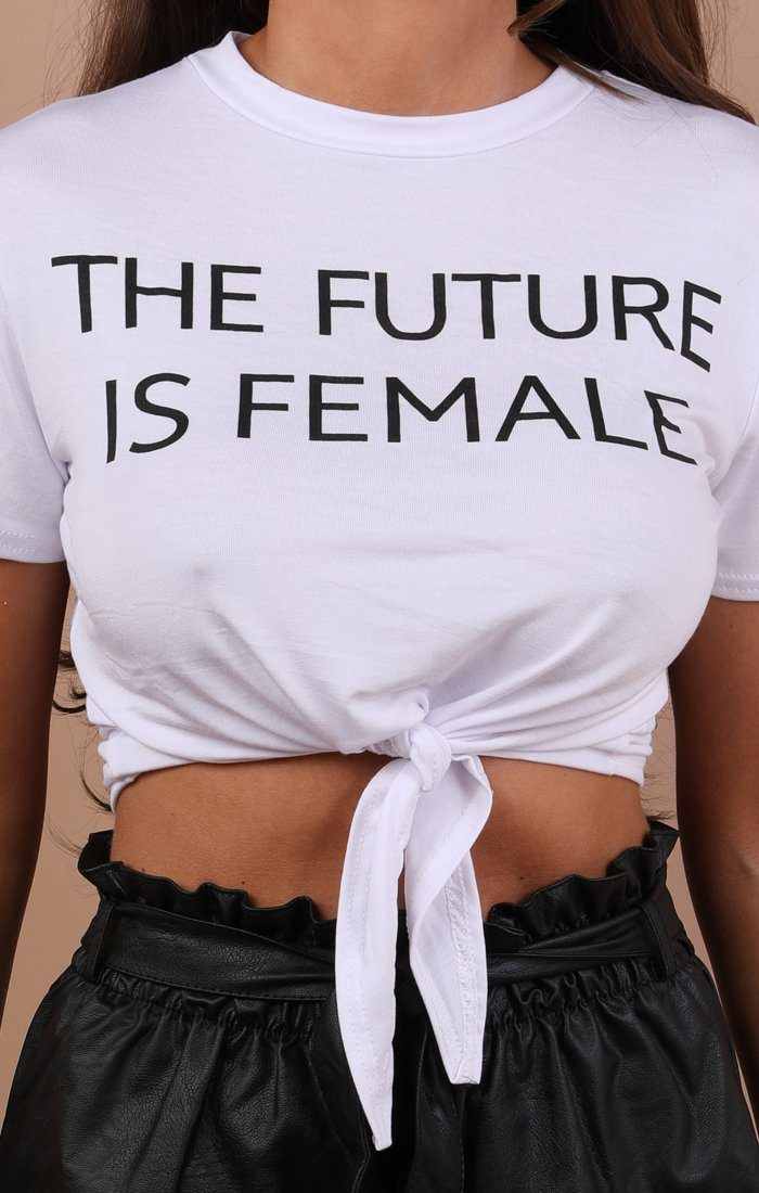 White The Future Is Female Crop Top - Naomie