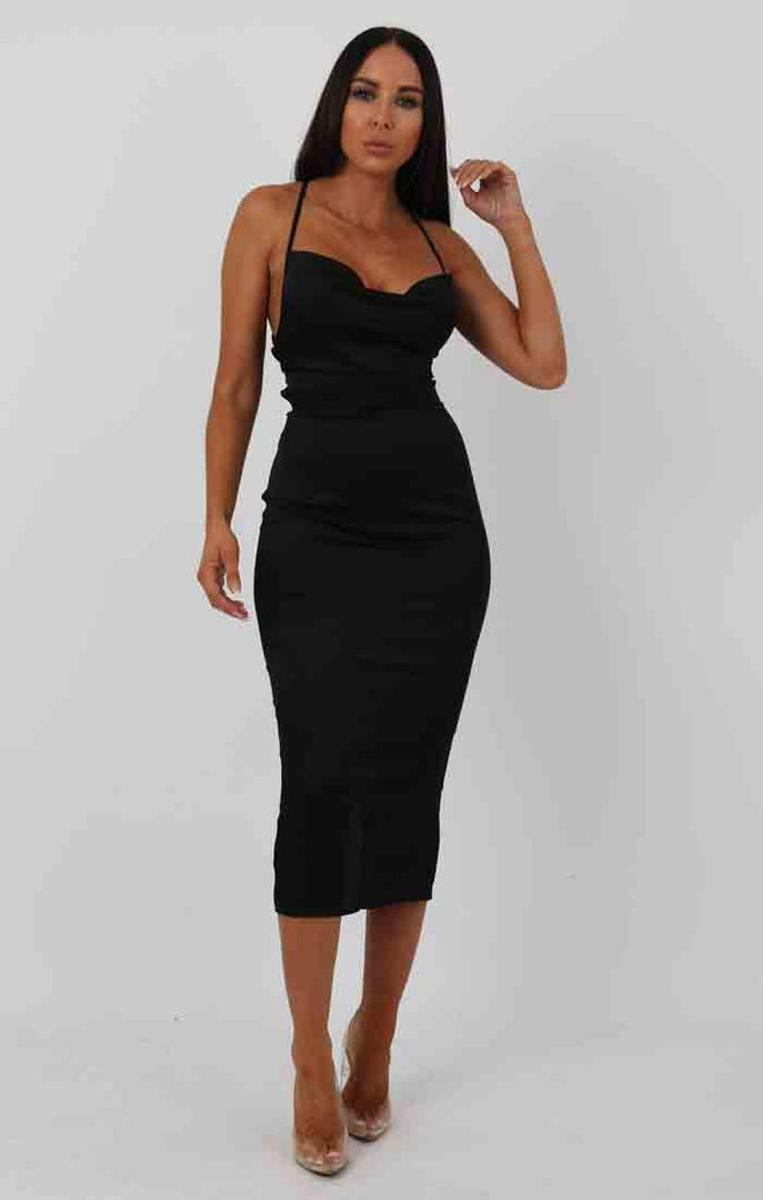 Black Satin Cowl Neck Bodycon Midi Dress - Clarence