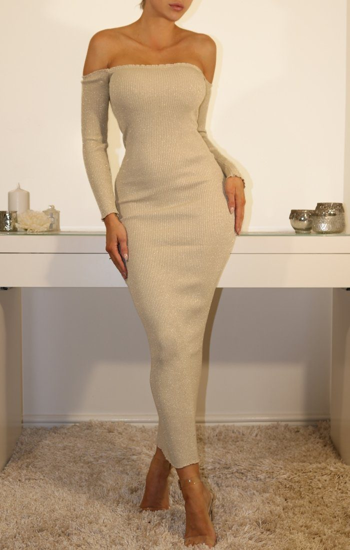 Champagne Bardot Ribbed Maxi Dress With Ruffle Detail