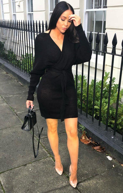Black Knit Long Sleeve Tie Front Wrap Dress - Star