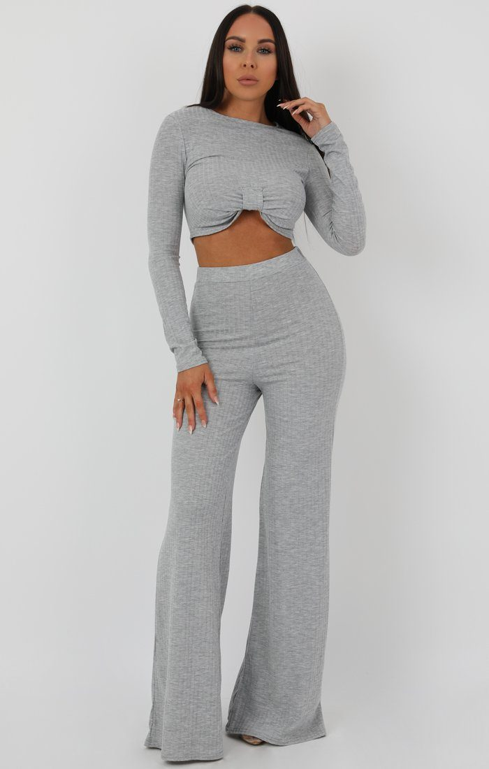 Grey Knot Crop Ribbed Flare Loungewear Set - Jacie Loungewear FemmeLuxe