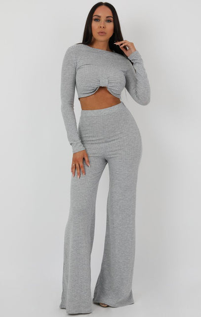 Grey Knot Crop Ribbed Flare Loungewear Set - Jacie