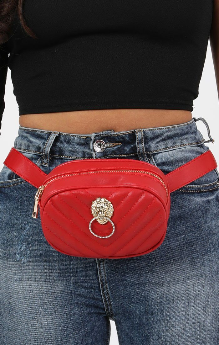 Red Quilted Lion Head Belt Bag - Rosie