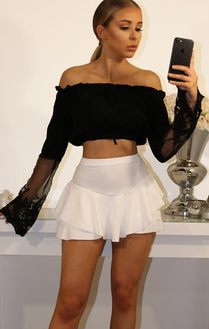 Black Bardot Crop Top With Lace Bell Sleeves