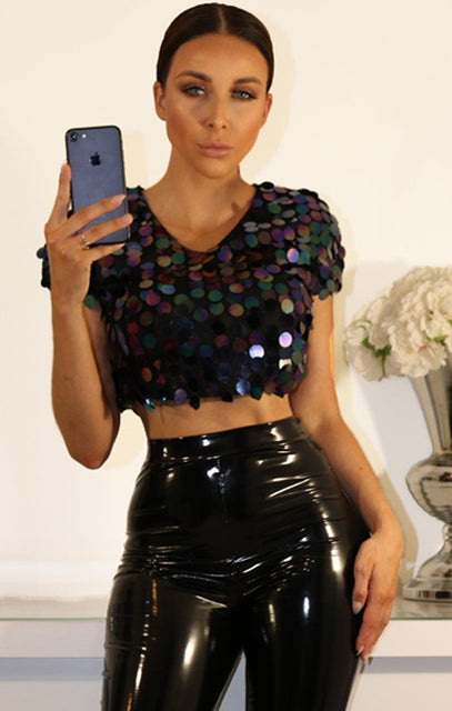 Blue Sequin Embellished Black Crop Top