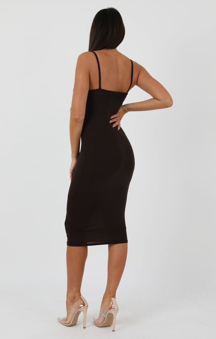 Brown Strappy Bodycon Midi Dress - Poppy