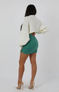 Cream Cable Knit Extreme Crop Knit Jumper - Astley