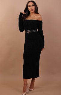 Black Bardot Maxi Jumper Dress - Julia
