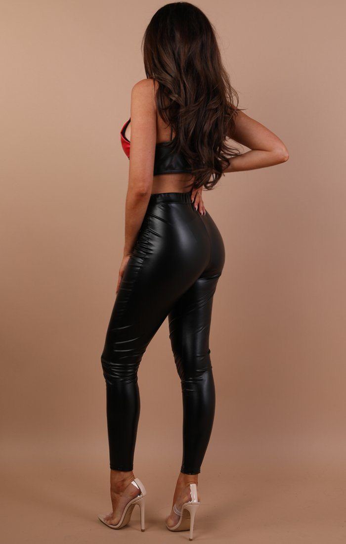Black Faux Leather Leggings - Alexia