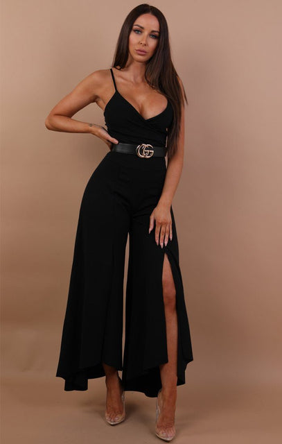 Black Extreme Flare Split Leg Jumpsuit - Savannah